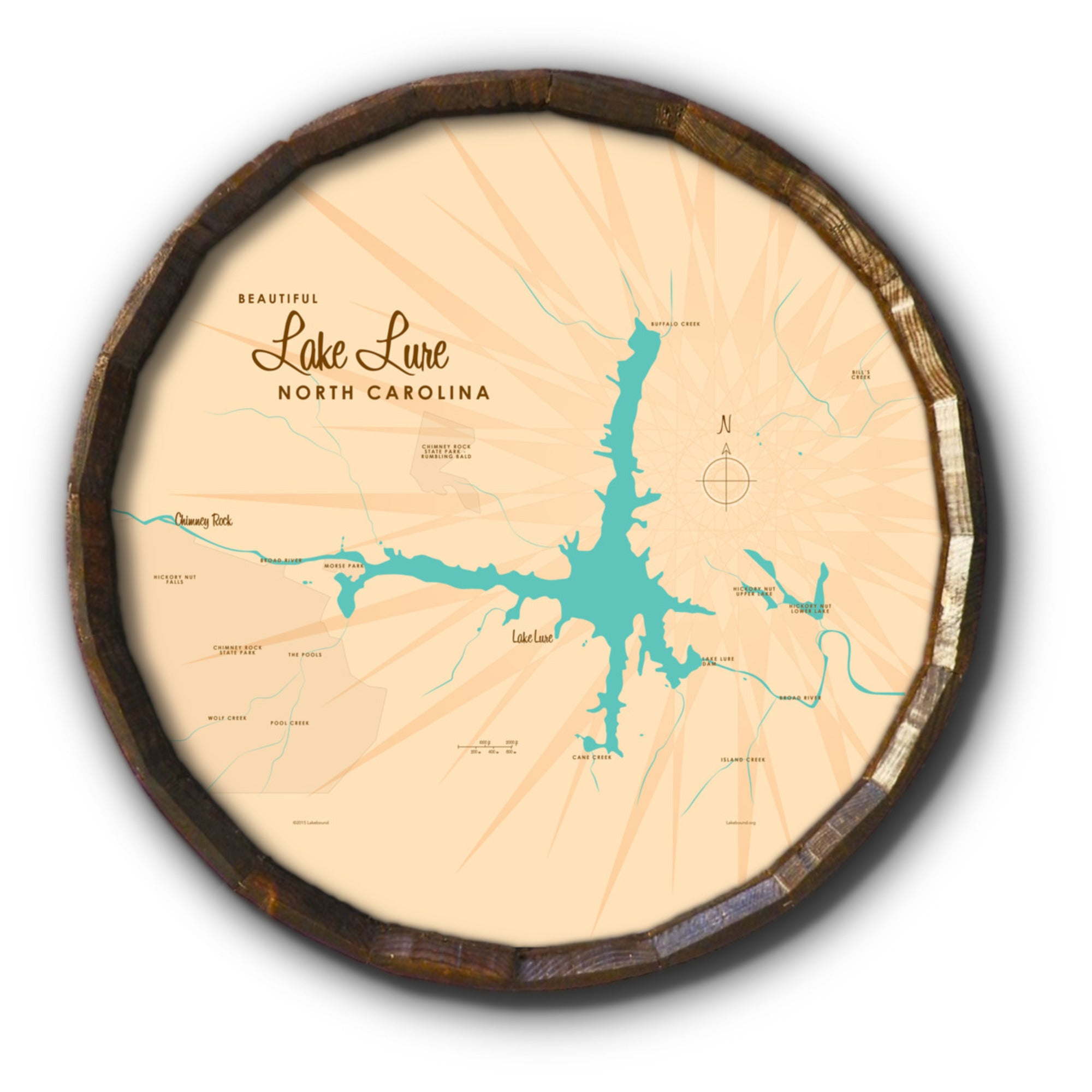 Lake Lure North Carolina, Barrel End Map Art