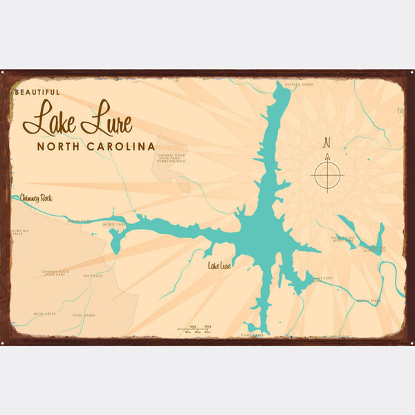 Lake Lure North Carolina, Rustic Metal Sign Map Art