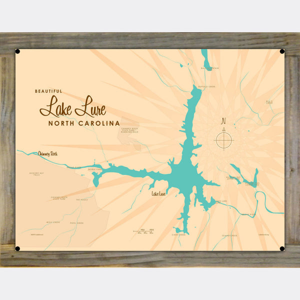 Lake Lure North Carolina, Wood-Mounted Metal Sign Map Art