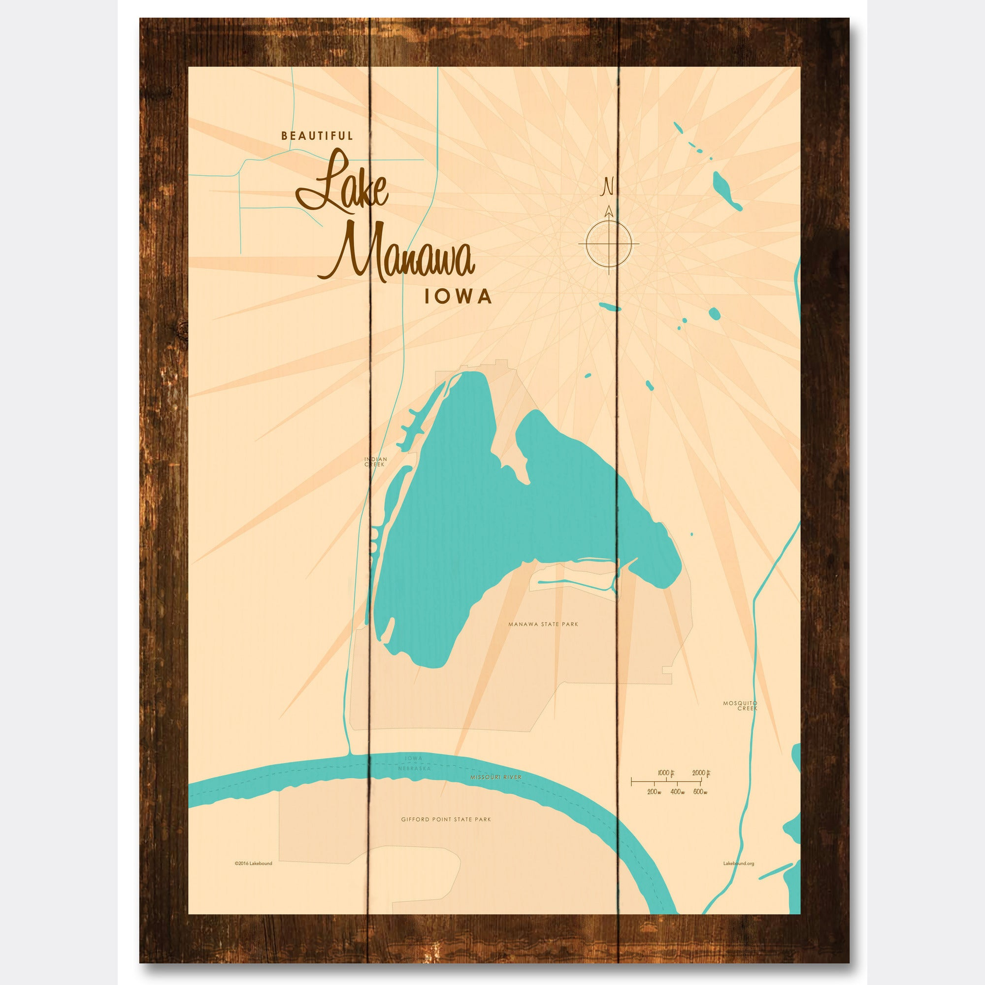 Lake Manawa Iowa, Rustic Wood Sign Map Art