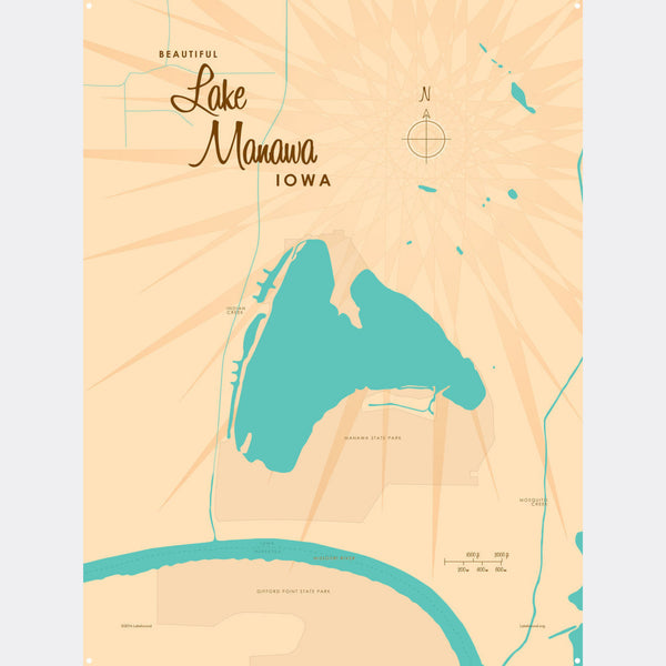 Lake Manawa Iowa, Metal Sign Map Art