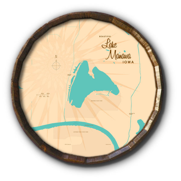Lake Manawa Iowa, Barrel End Map Art