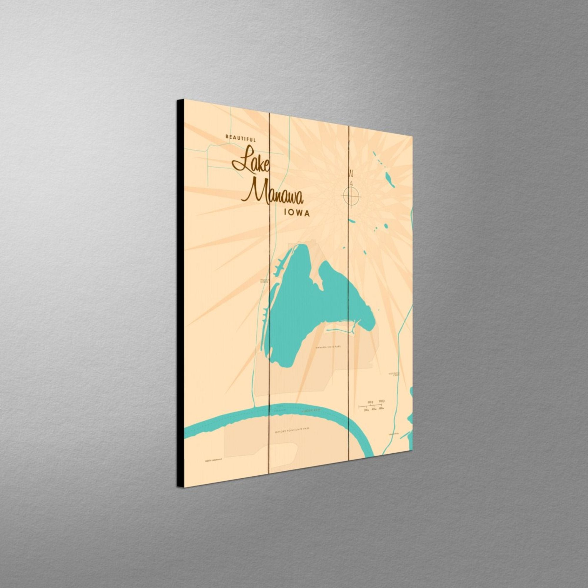 Lake Manawa Iowa, Wood Sign Map Art