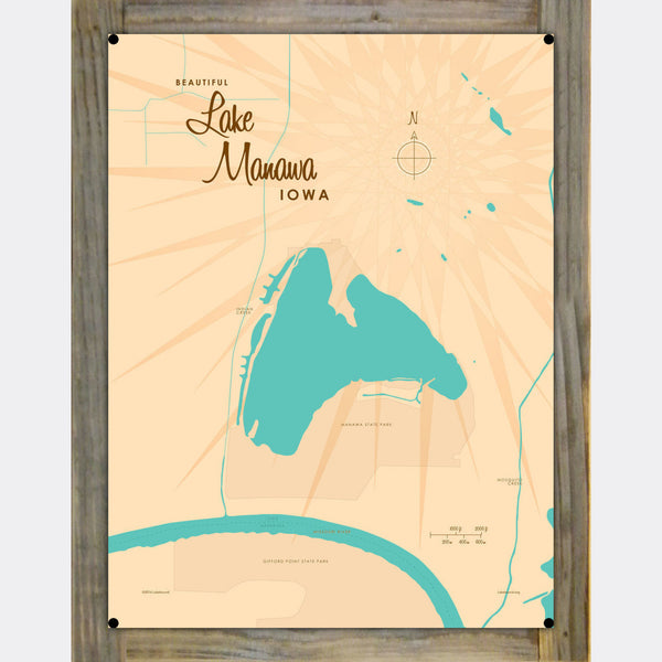 Lake Manawa Iowa, Wood-Mounted Metal Sign Map Art