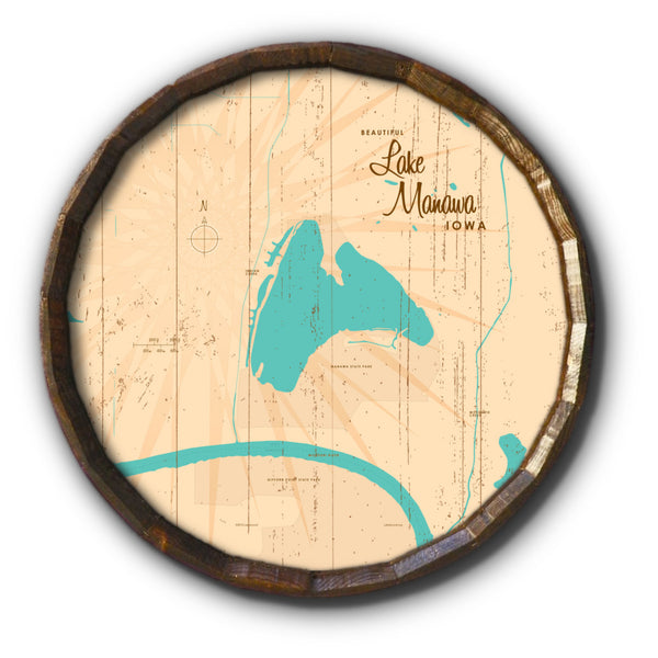 Lake Manawa Iowa, Rustic Barrel End Map Art