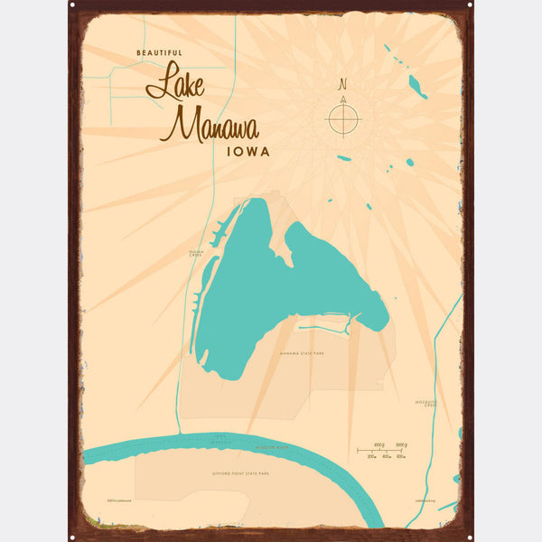 Lake Manawa Iowa, Rustic Metal Sign Map Art