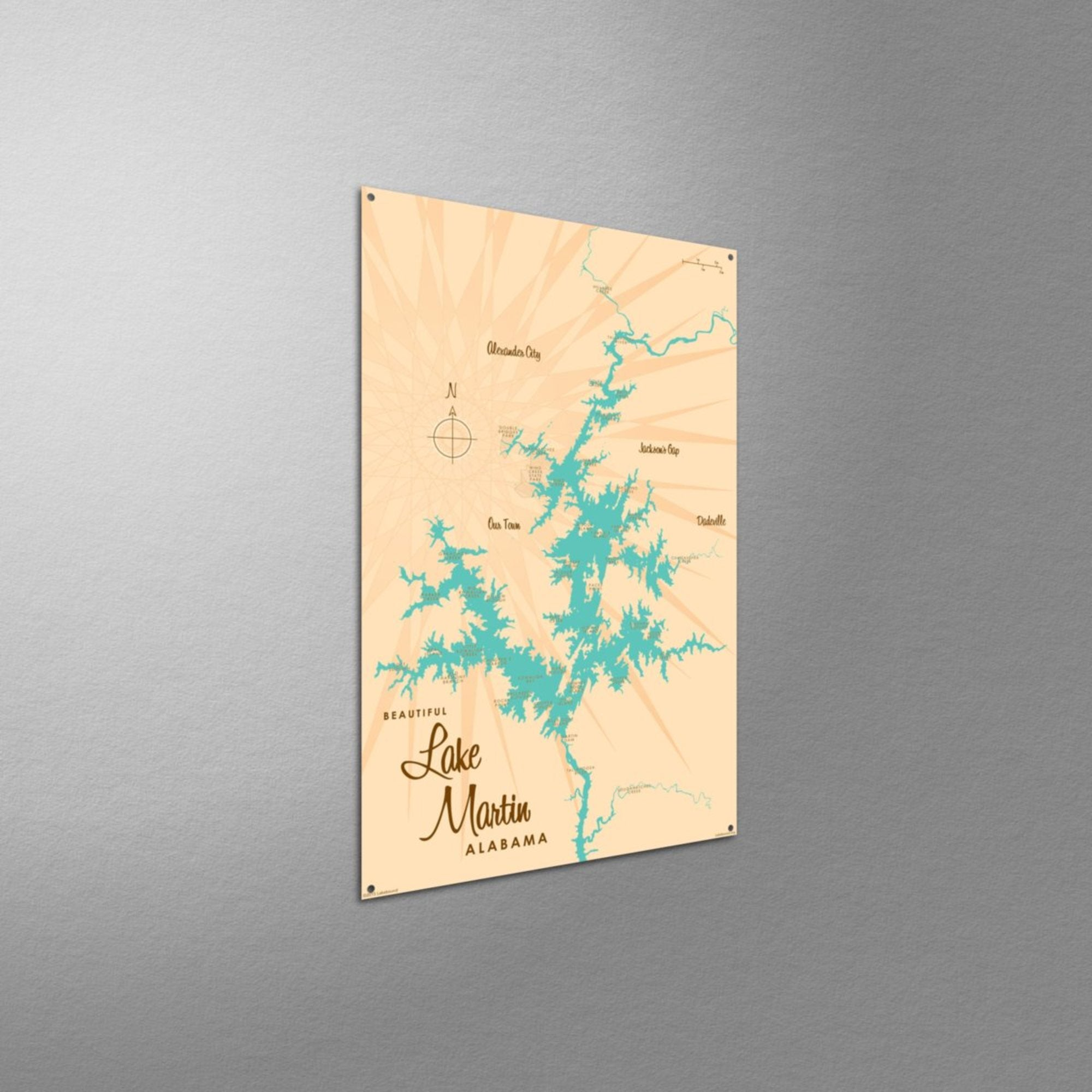 Lake Martin Alabama, Metal Sign Map Art