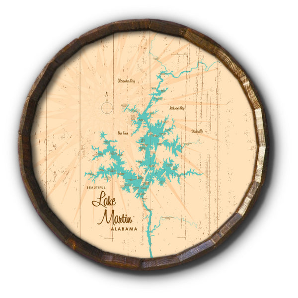 Lake Martin Alabama, Rustic Barrel End Map Art