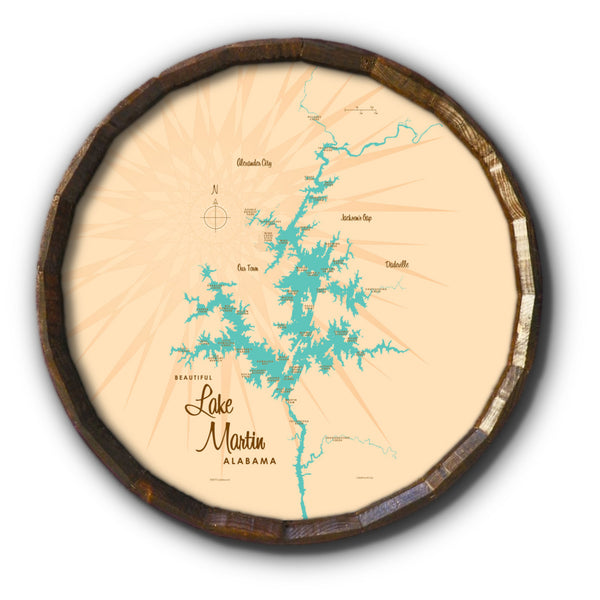 Lake Martin Alabama, Barrel End Map Art