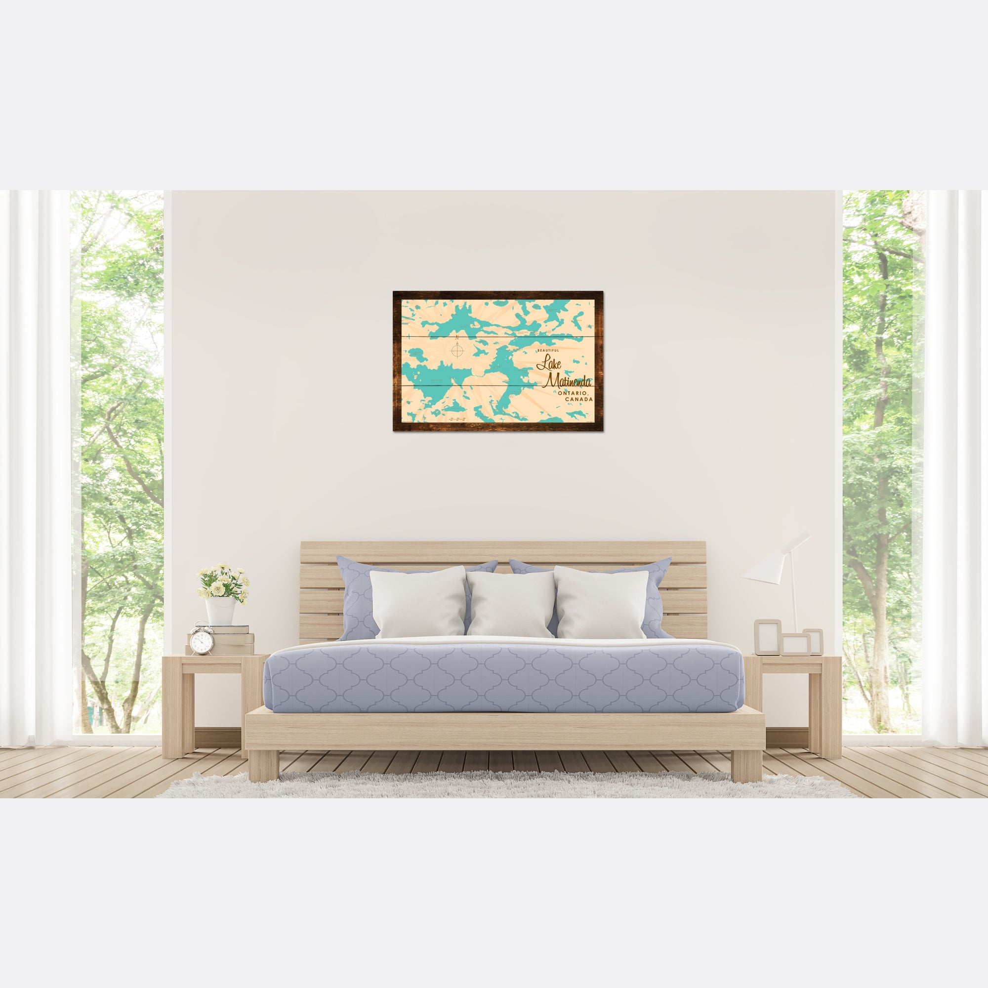 Lake Matinenda Canada, Rustic Wood Sign Map Art