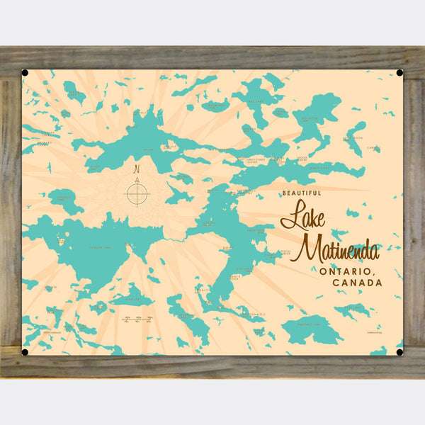 Lake Matinenda Canada, Wood-Mounted Metal Sign Map Art