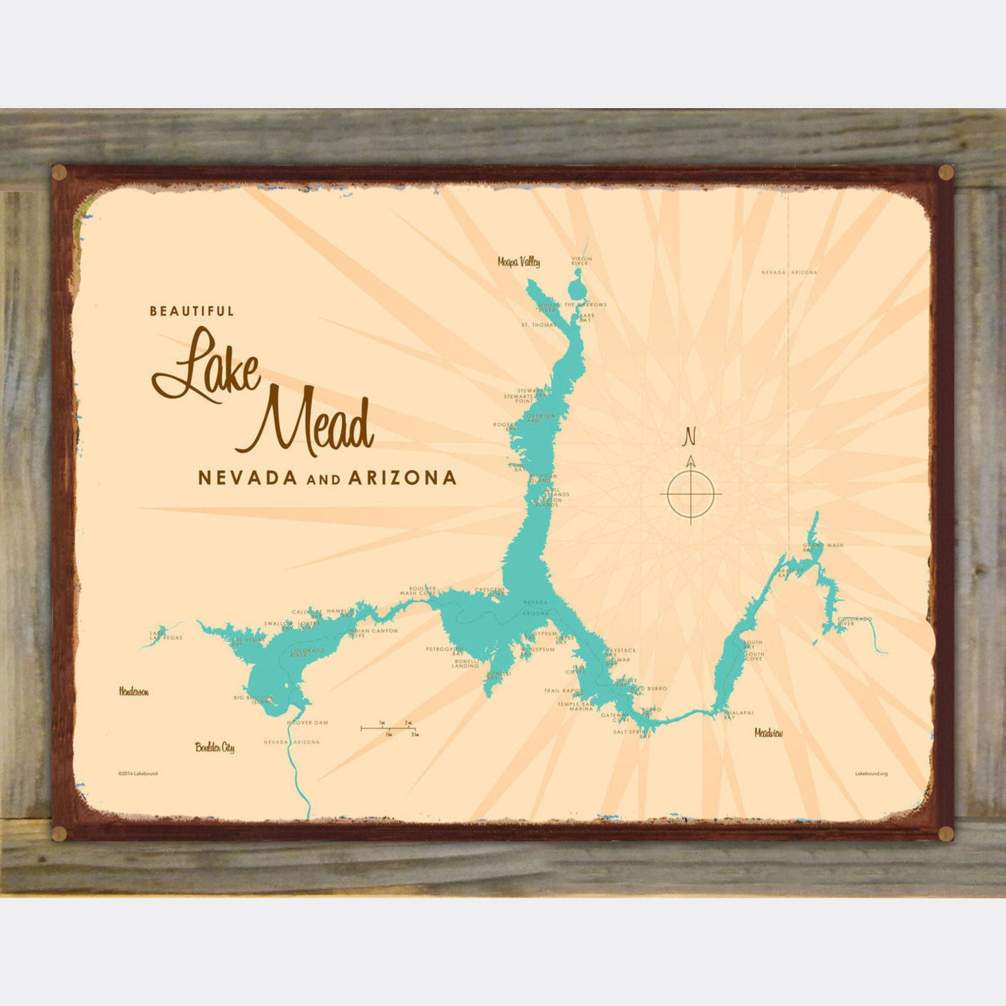 Lake Mead AZ Nevada, Wood-Mounted Rustic Metal Sign Map Art