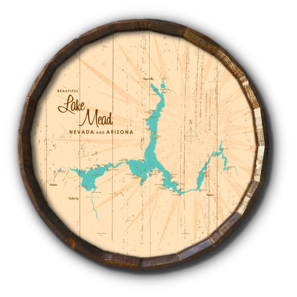 Lake Mead AZ Nevada, Rustic Barrel End Map Art