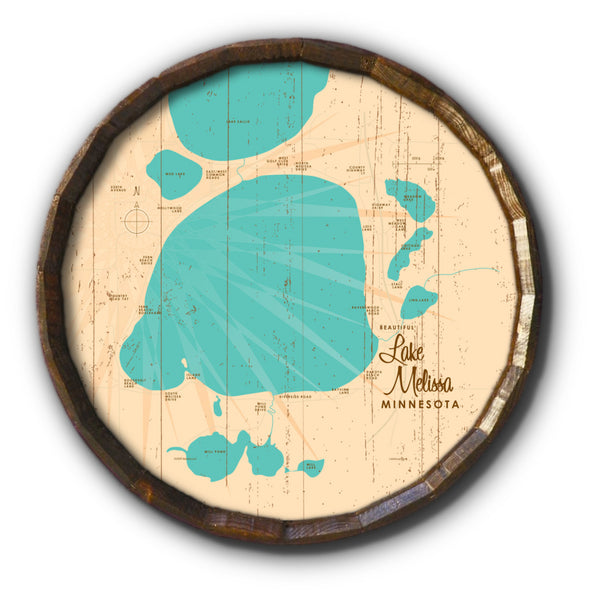 Lake Melissa Minnesota, Rustic Barrel End Map Art