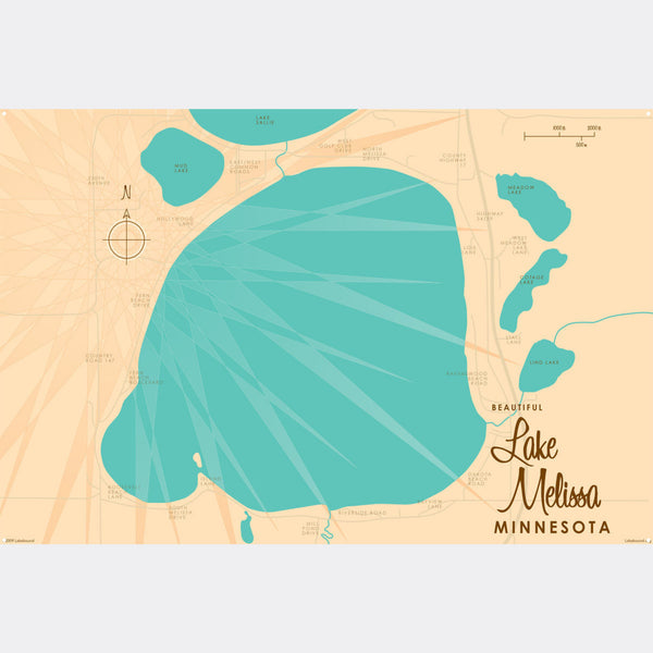 Lake Melissa Minnesota, Metal Sign Map Art