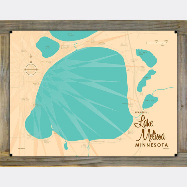 Lake Melissa Minnesota, Wood-Mounted Metal Sign Map Art