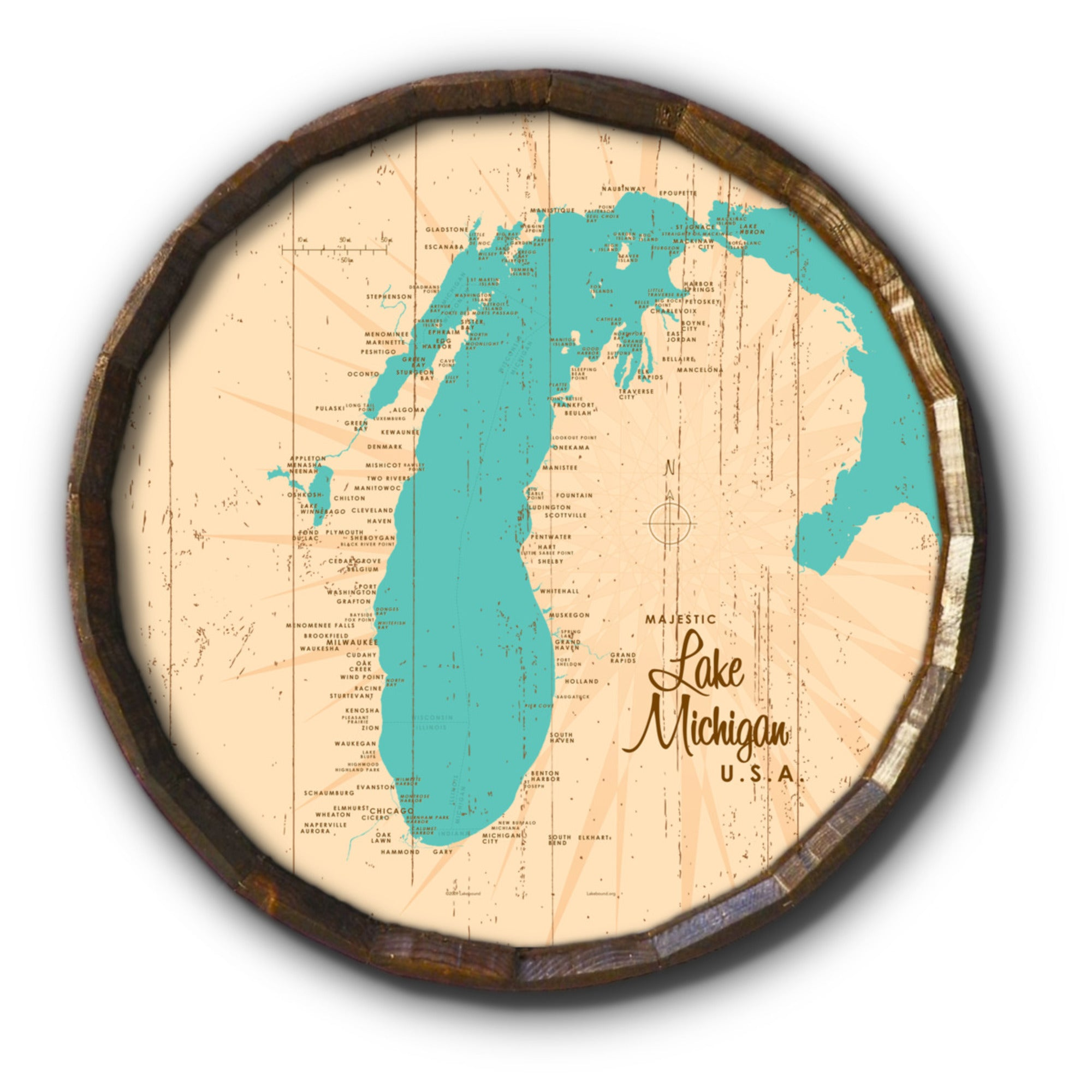 Lake Michigan Michigan, Rustic Barrel End Map Art