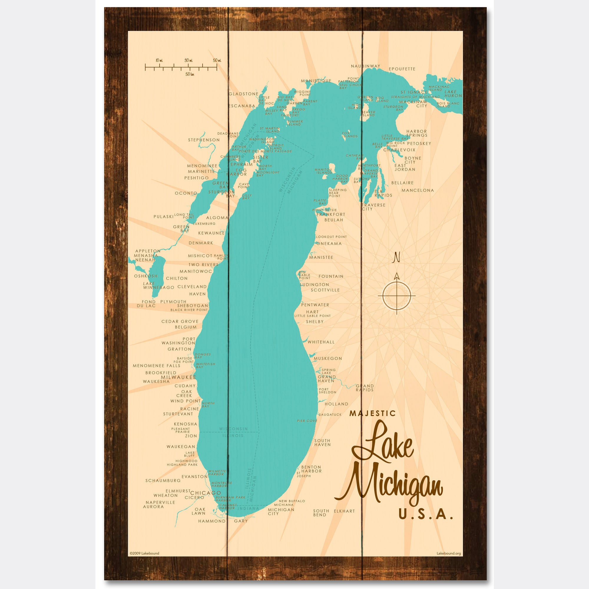 Lake Michigan Michigan, Rustic Wood Sign Map Art