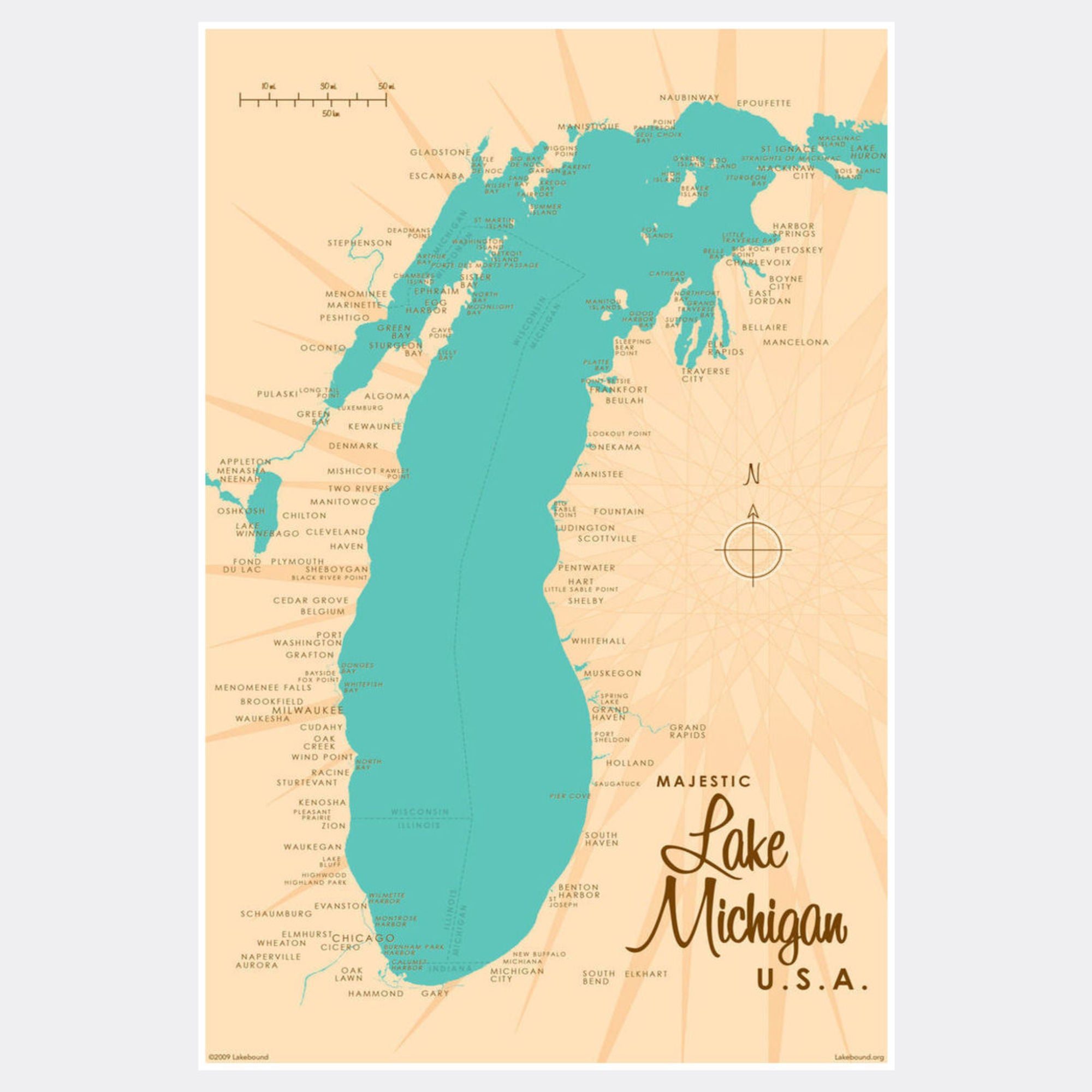 Lake Michigan Michigan, Paper Print