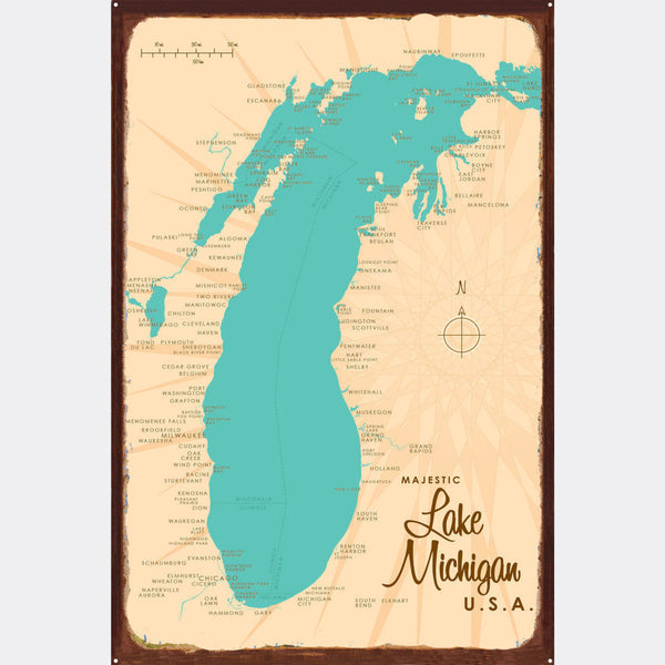 Lake Michigan Michigan, Rustic Metal Sign Map Art