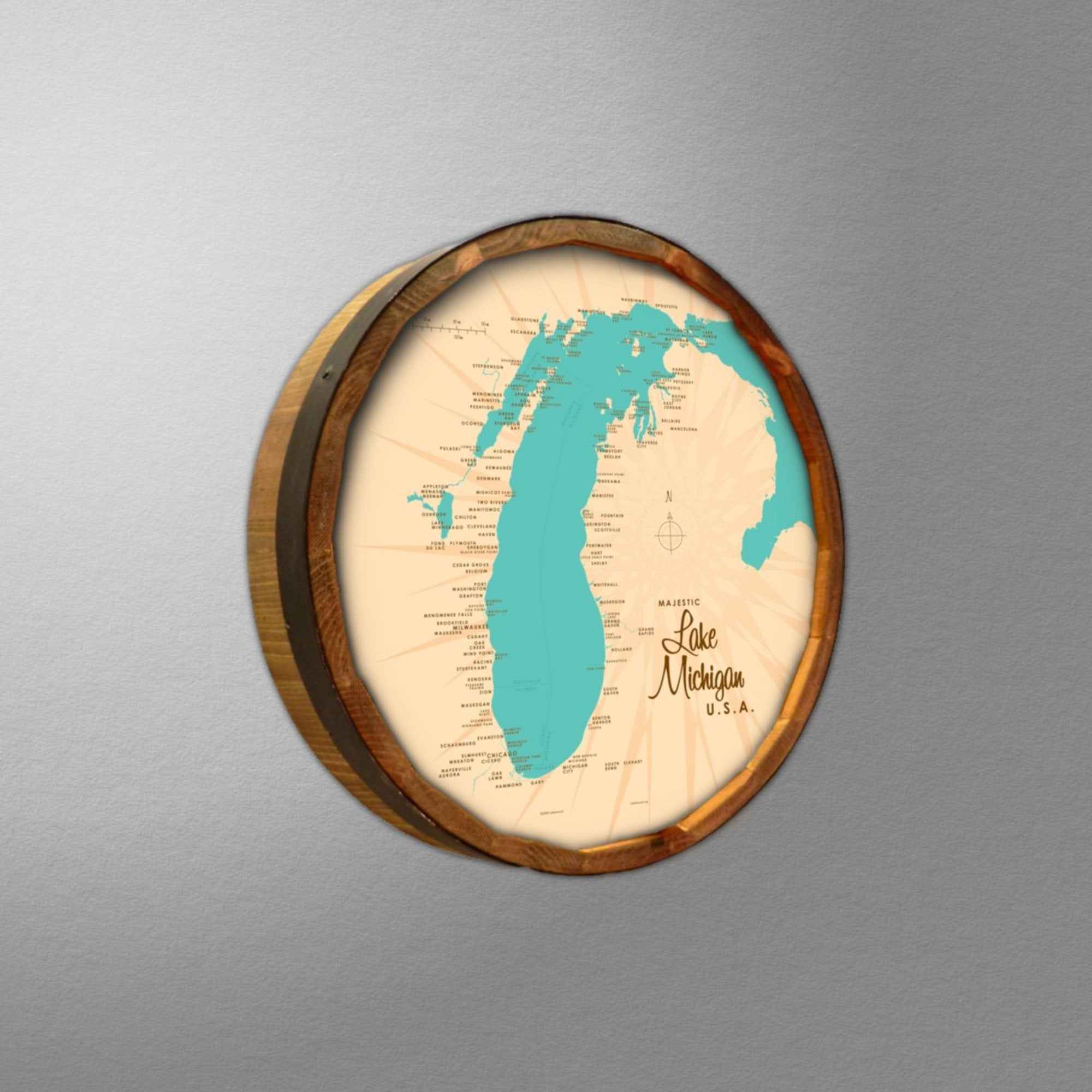 Lake Michigan Michigan, Barrel End Map Art