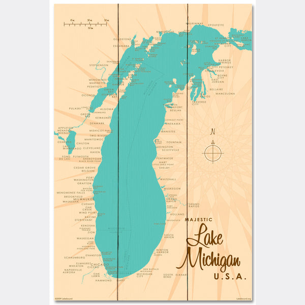 Lake Michigan Michigan, Wood Sign Map Art