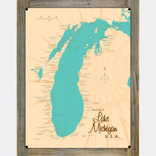 Lake Michigan Michigan, Wood-Mounted Metal Sign Map Art