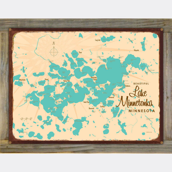 Lake Minnetonka Minnesota, Wood-Mounted Rustic Metal Sign Map Art