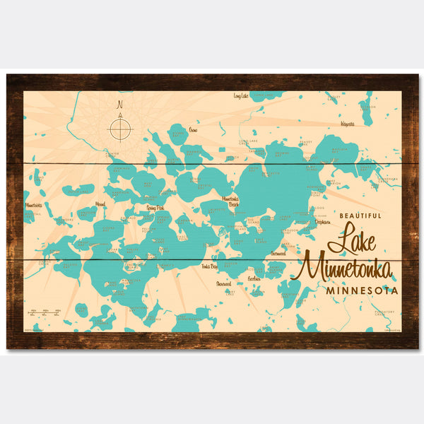 Lake Minnetonka Minnesota, Rustic Wood Sign Map Art