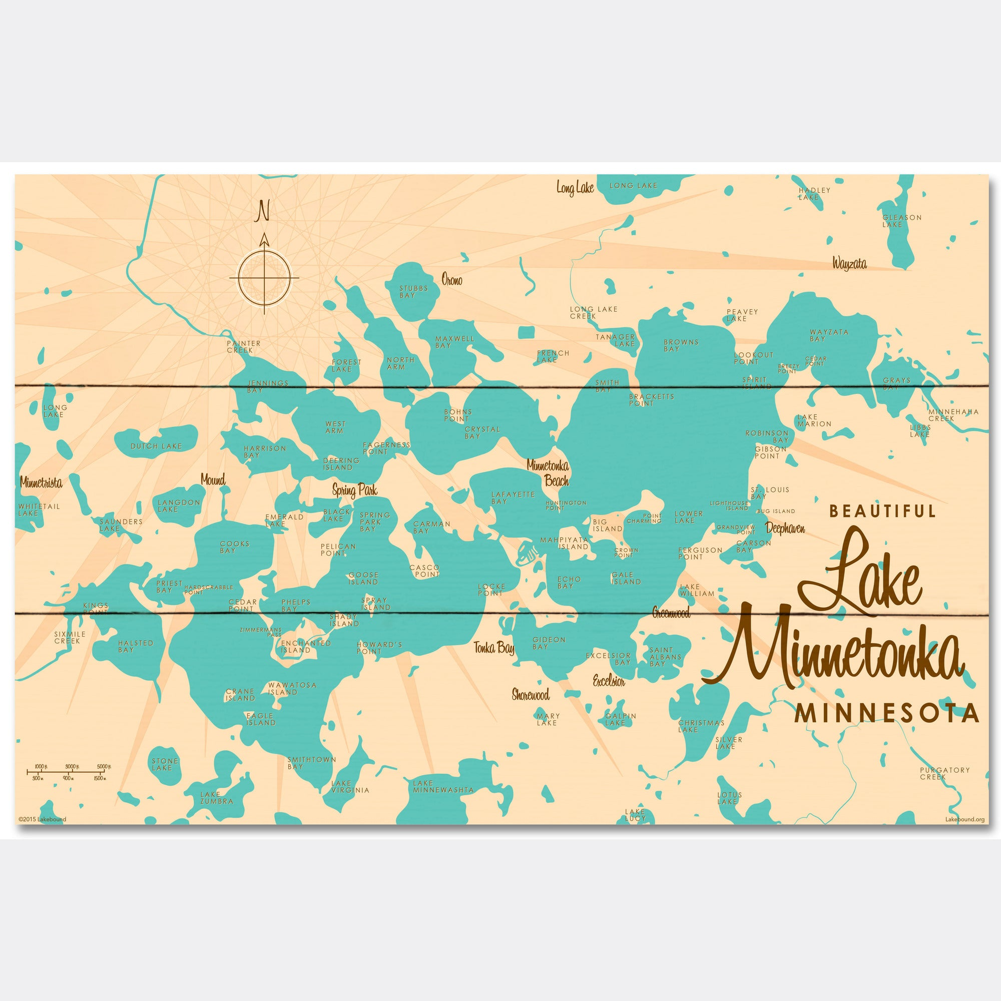 Lake Minnetonka Minnesota, Wood Sign Map Art