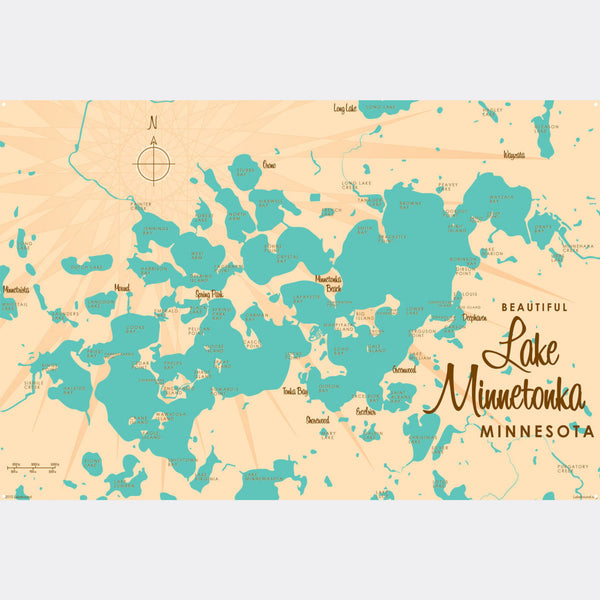 Lake Minnetonka Minnesota, Metal Sign Map Art