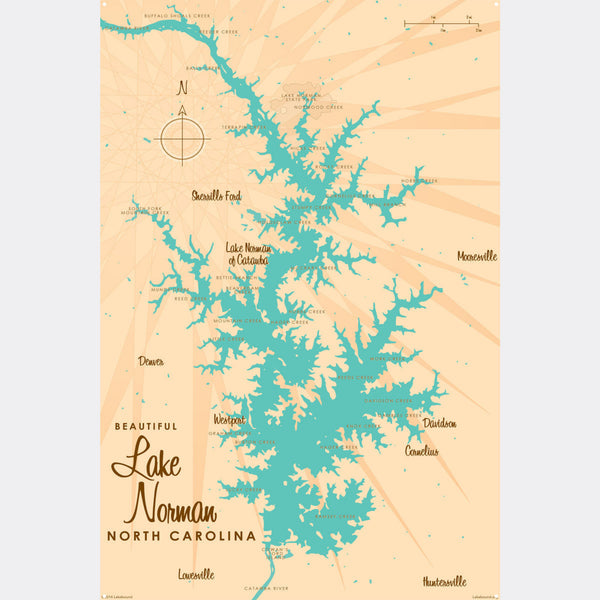 Lake Norman North Carolina, Metal Sign Map Art