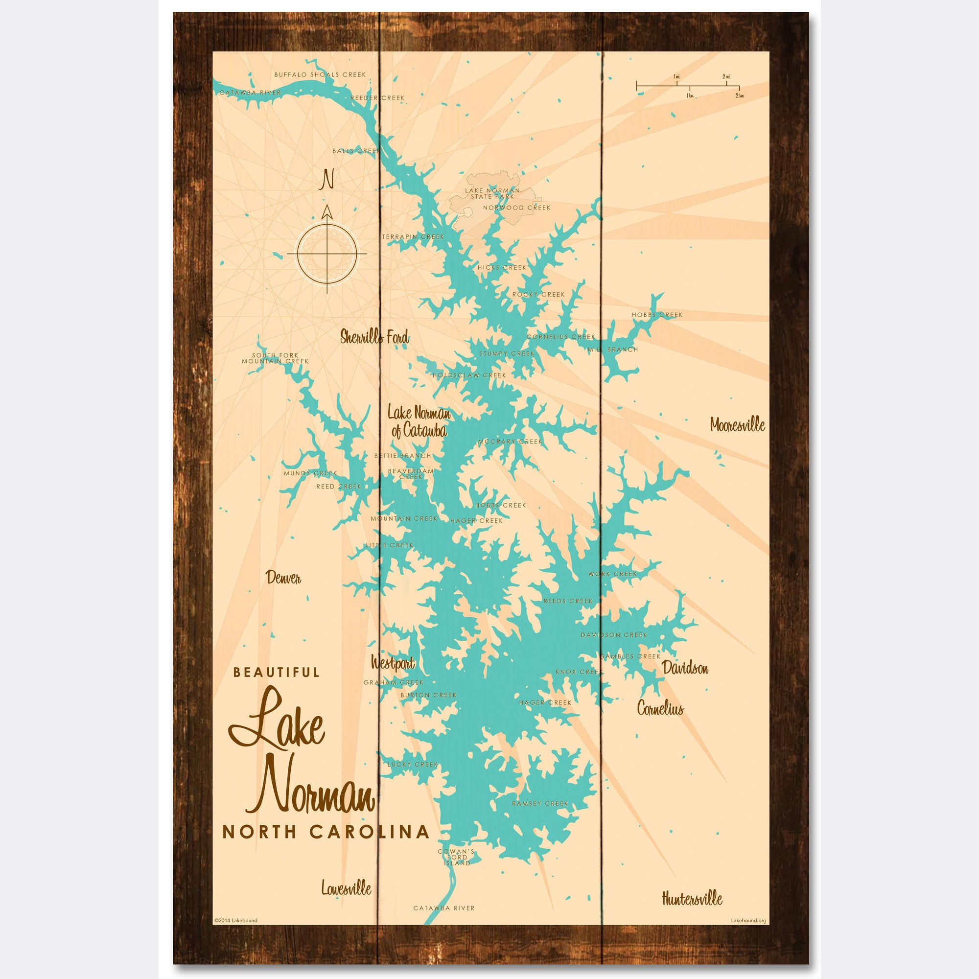 Lake Norman North Carolina, Rustic Wood Sign Map Art