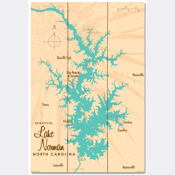 Lake Norman North Carolina, Wood Sign Map Art