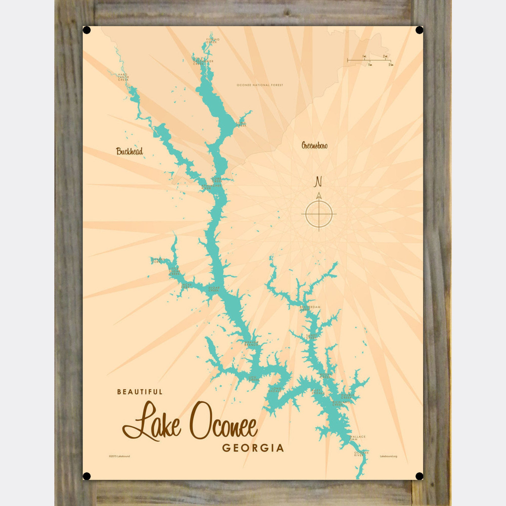 Lake Oconee Georgia, Wood-Mounted Metal Sign Map Art