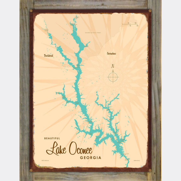 Lake Oconee Georgia, Wood-Mounted Rustic Metal Sign Map Art