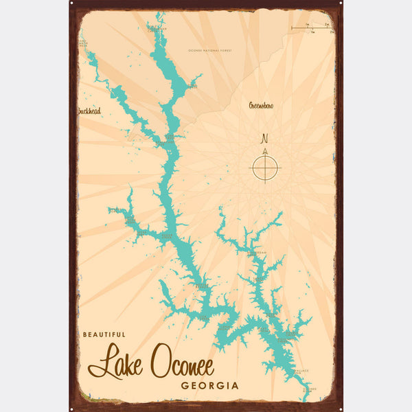 Lake Oconee Georgia, Rustic Metal Sign Map Art