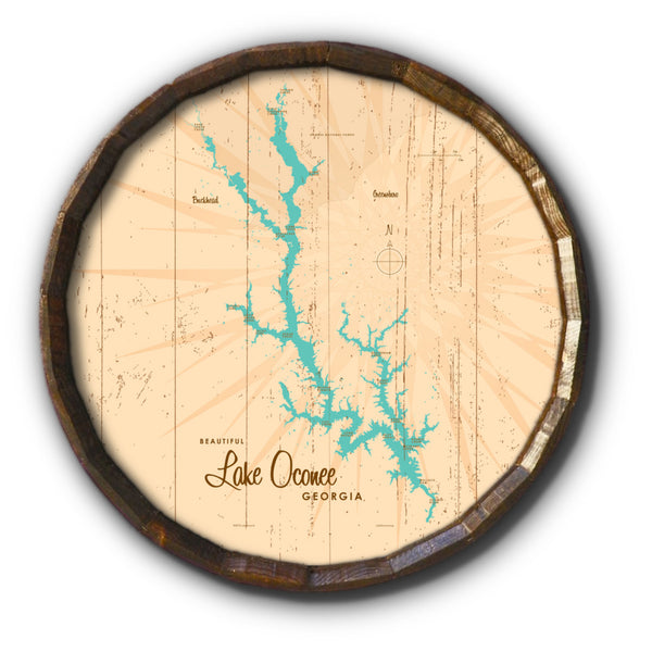 Lake Oconee Georgia, Rustic Barrel End Map Art