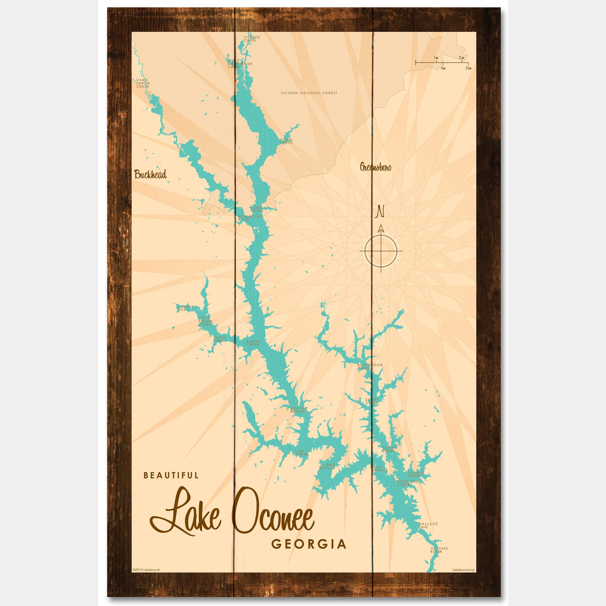 Lake Oconee Georgia, Rustic Wood Sign Map Art