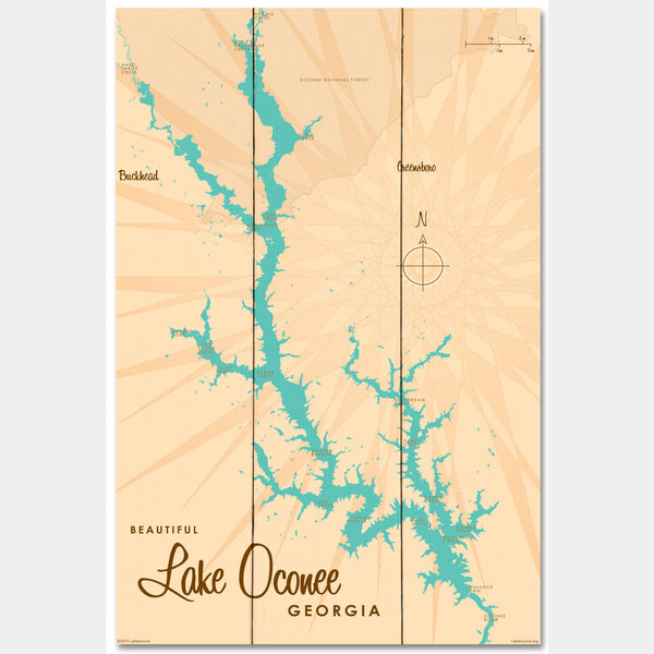 Lake Oconee Georgia, Wood Sign Map Art