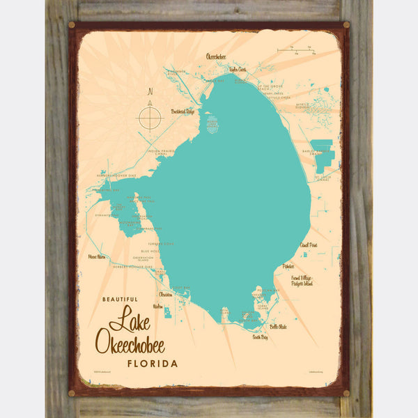 Lake Okeechobee Florida, Wood-Mounted Rustic Metal Sign Map Art