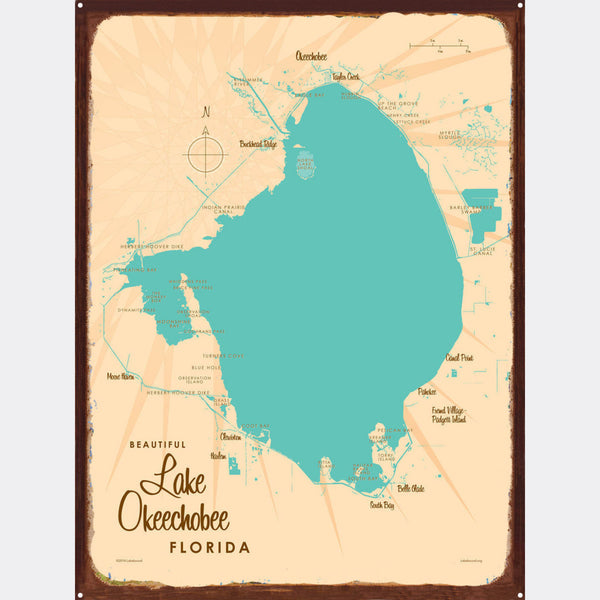 Lake Okeechobee Florida, Rustic Metal Sign Map Art