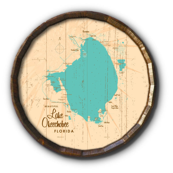 Lake Okeechobee Florida, Rustic Barrel End Map Art