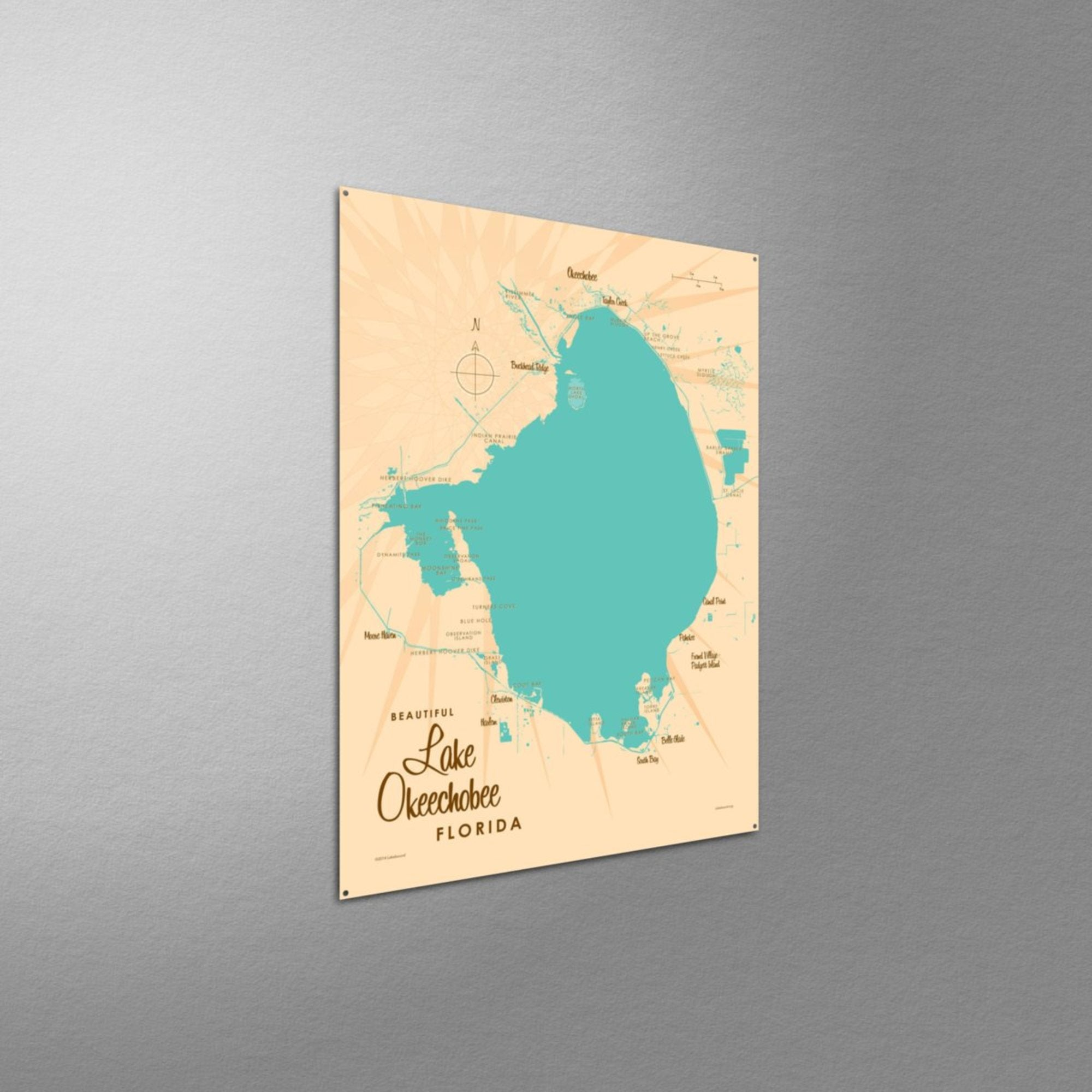 Lake Okeechobee Florida, Metal Sign Map Art