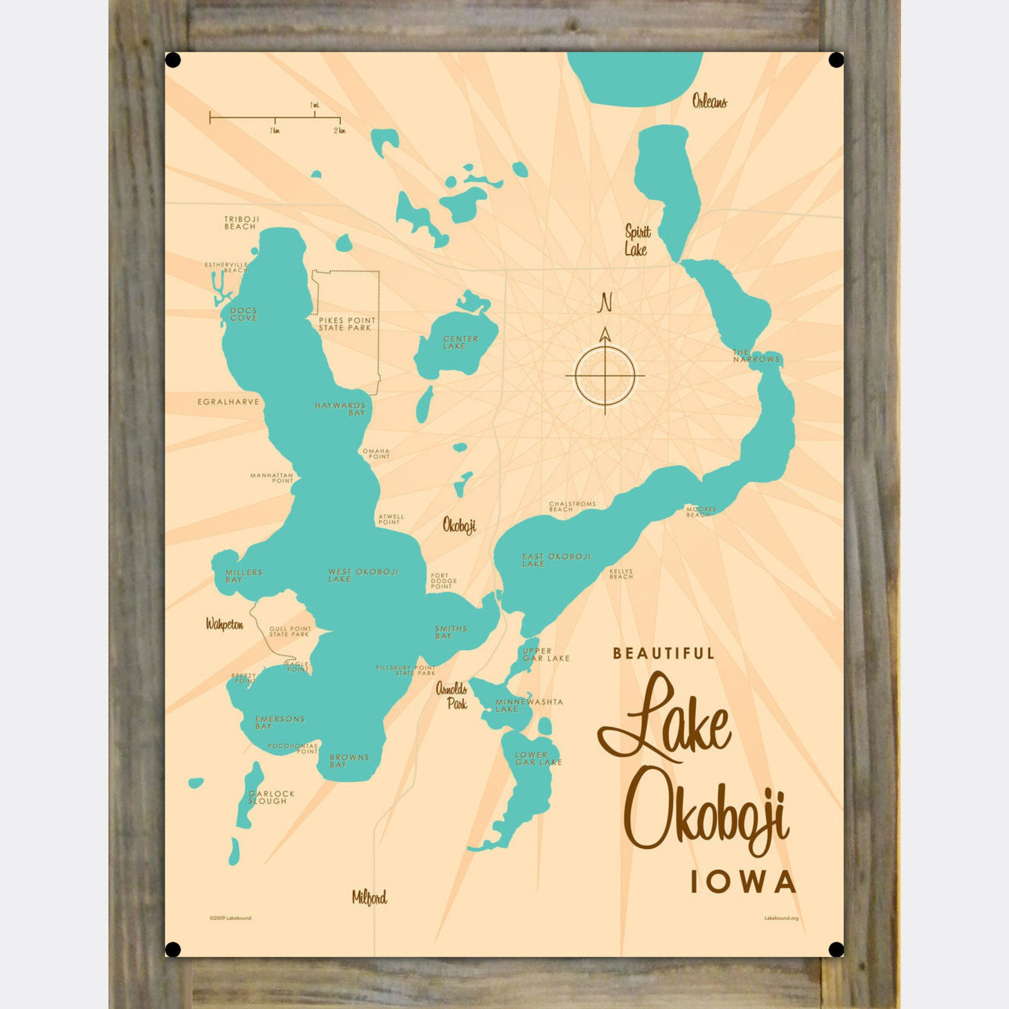 Lake Okoboji Iowa, Wood-Mounted Metal Sign Map Art