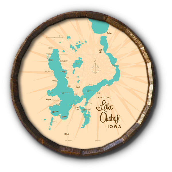Lake Okoboji Iowa, Barrel End Map Art