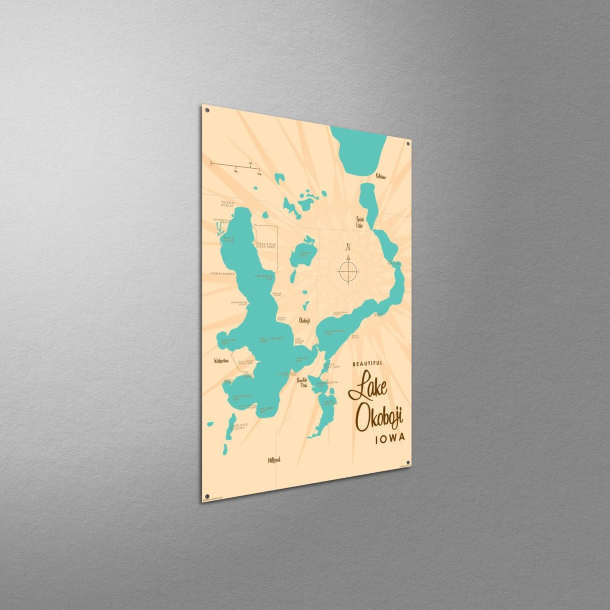 Lake Okoboji Iowa, Metal Sign Map Art