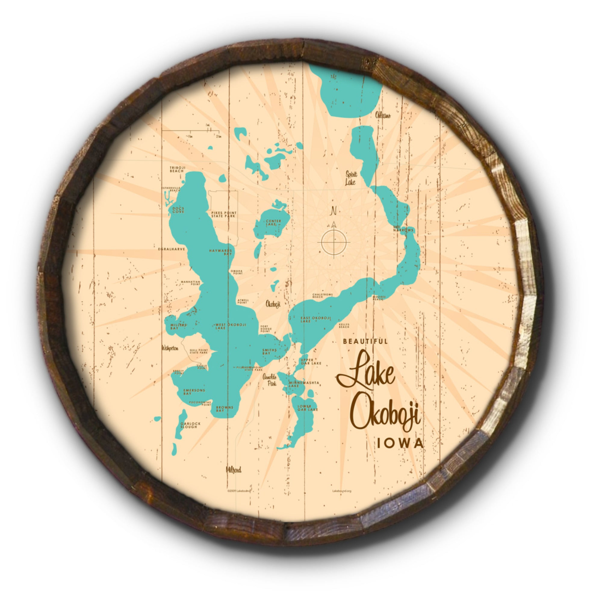 Lake Okoboji Iowa, Rustic Barrel End Map Art