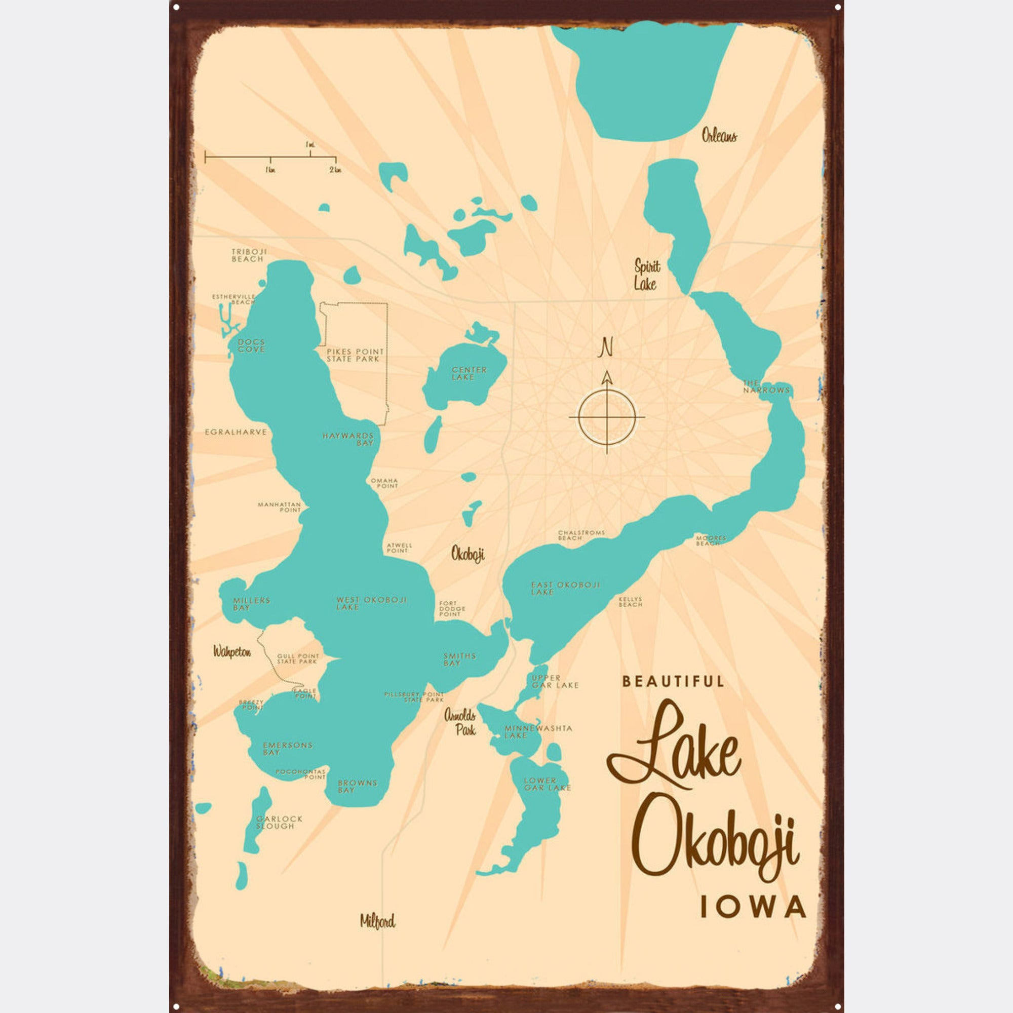 Lake Okoboji Iowa, Rustic Metal Sign Map Art