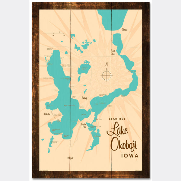 Lake Okoboji Iowa, Rustic Wood Sign Map Art